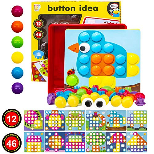 MMTX Button Art Toys for Toddler, Preschool Educational Creative Toys Kids Puzzles with Peg Board, Color Matching Game for Girls, Boys