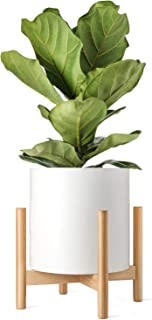 Mkono Plant Stand Mid Century Wood Flower Pot Holder Display Potted Rack Rustic, Up to 14 Inch Planter (Plant and Pot NOT Included), Natural
