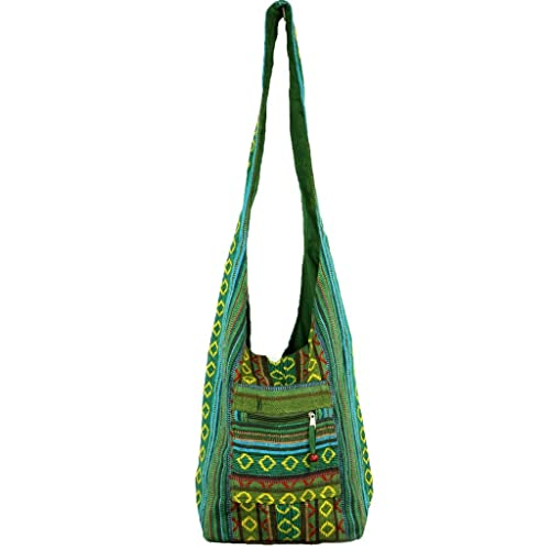 22e3193053e5 HIPPIE FESTIVAL COTTON CANVAS SHOULDER BAG DIAMOND PATTERN- 5 COLOURS