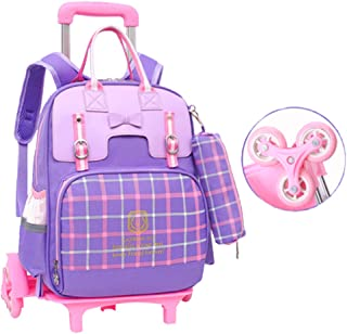 Girl School Bag School Large Capacity Lightening Waterproof Trolley Backpack Wear-Resistant Pulley