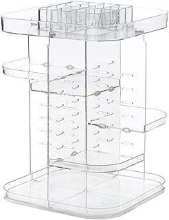 Poooyun-Life-收纳盒 Makeup Storage Organizer 360 Degree Rotation Cosmetic Display Case Storage Box DIY Adjustable Height Makeup Storage Box,Clear,L