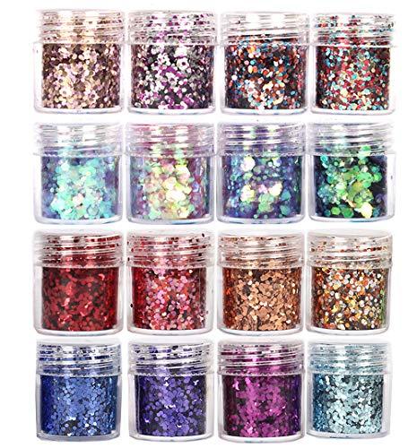 GCOA 16 Boxen Glitzer Für Gesicht Körper Glitzer, Glitzer Sequin Chunky Glitter für Gesicht Nägel Augen Lippen Haare Körper, Make-Up Glitzer Paillette(10ML)