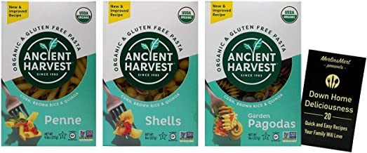 Ancient Harvest Organic Gluten-Free Corn Brown Rice Quinoa Blend Pasta | 3 Shape Variety | (1) each: Penne, Shells, Garden...