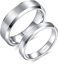 Greenpod 4mm 6mm Tungsten Carbide Ring for Men Women Comfort Fit Beveled Edge Brushed Silver Wedding Band Size 4-14