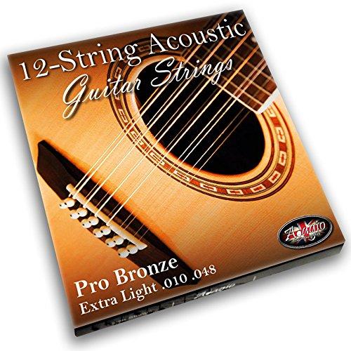 Adagio Pro 12-saitigen Akustik Gitarre Saiten (12Saiten),Phosphor Bronze (Extra Stärke Light .010–.047Set mit Ball Ends)