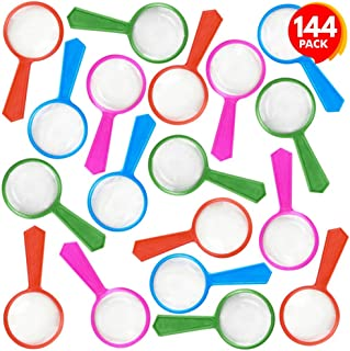 ArtCreativity Kids' Magnifying Glasses - Bulk Pack of 144 - Mini Magnifier Lenses in Assorted Bright Colors, Hand Held Magnifying Glasses Favors for Science, Explorer, Spy, Detective, or Insect Party