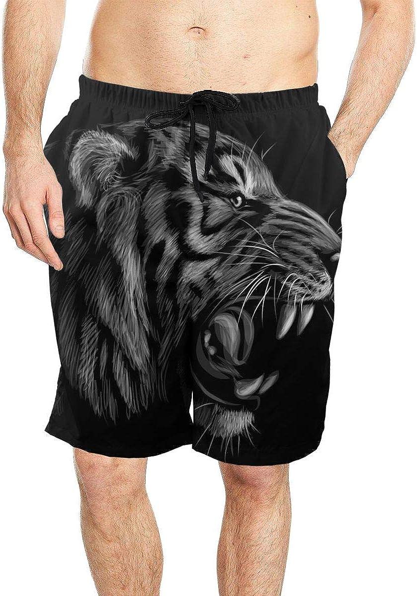 DASMUS Tiger Portrait Men Quick Dry Beach Board Shorts Swim Trunks with Mesh Lining
