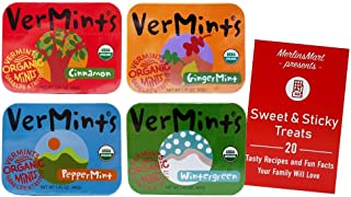 VerMints Organic Breath Mints | 4 Flavor Variety (1) Tin each: Ginger, Wintergreen, Cinnamon, Peppermint (1.76 Ounces) Plu...