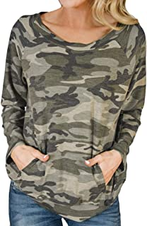 Women's Camouflage Long Sleeve T-Shirt Sweatshirt,Zlolia Round Neck Pocket Pullover Ladies' Casual Autumn Winter Tops
