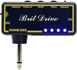SONICAKE Amplificador de bolsillo para uso con auriculares Brit Drive para guitarra