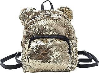 Wultia - Backpack Fashion Lady Cartoon Sequins School Backpack Travel Satchel Girls Student Panelled Zipper Backpack Mochila Gold
