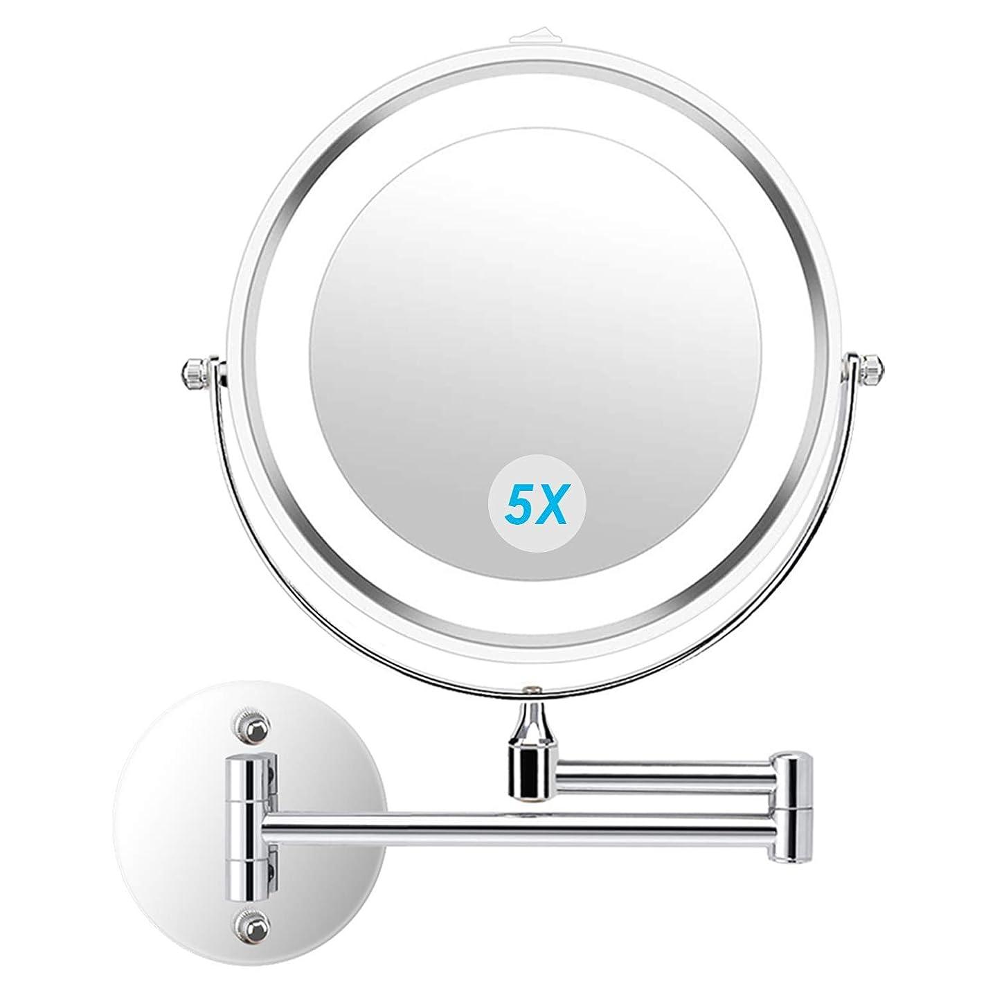 サーキュレーションコールド防水alvorog 壁掛け化粧鏡 4個 電池で駆動バスルームホテル用照明付き両面5倍 倍率360度 スイベル延長化粧化粧鏡を導きました 7