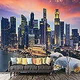 XHXI Iluminación creativa moderna Arquitectura Paisaje de la ciudad Impresión de arte en HD Pintura Pared Pintado Papel tapiz 3D Decoración dormitorio Fotomural sala sofá pared mural-350cm×256cm