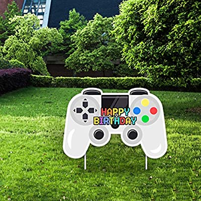 Video Game Happy Birthday Yard Sign - Video Game Shape Lawn Signs with Stakes for Boys and Girls - Special Yard Decorations for a Colorful Outdoor Birthday Party-White