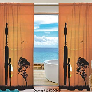 Shutters Decorative Sheer Curtains for Kitchen Window Drapes with Rod Pocket for Small Windows,2 Panels,Afro Decor,Child and Mother at Sunset Walking in Savannah Desert Dawn Kenya Nature Image,Orange