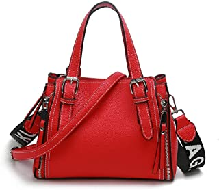 Fashion New Exquisite Beautiful Trendy Casual Fashion Portable Slung Shoulder Single Large Capacity Leather Handbag (Color : Red)