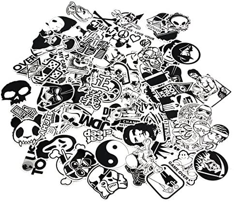 CHNLML Laptop Stickers Black and White 100pcs Variety Vinyl Car Sticker Motorcycle Bicycle Luggage product image