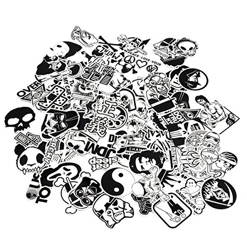 CHNLML Laptop Stickers Black and White 100pcs Variety Vinyl Car Sticker Motorcycle Bicycle Luggage Decal Graffiti Patches Skateboard Cool Stickers for Laptop