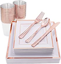 IOOOOO 150 Pieces Rose Gold Plates & Disposable Silverware & Cups, Premium Plastic Square Dinnerware Include: 25 Dinner Plates, 25 Dessert Plates, 25 Forks, 25 Knives, 25 Spoons, 25 Tumblers 10 OZ