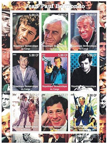 Briefmarken für Sammler–perforfated Stempel Tabelle mit Jean Paul Belmondo/Der Schauspieler in verschiedenen Posen/Demokratische Republik Kongo