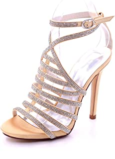 82544bf3ae975b CCBubble High Heels Open Toe Bridal Sandals Ankle Strap Stiletto Heels  Crystals Prom Evening Formal Party