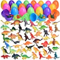 Fun Little Toys 48 Pack Easter Eggs Prefilled with Mini Dinosaur Toys Figures for Kids Prizes, Cake Toppers, Easter Basket Stuffers, Easter Egg Fillers, Goodie Bags and Party Favors by Funlittletoys
