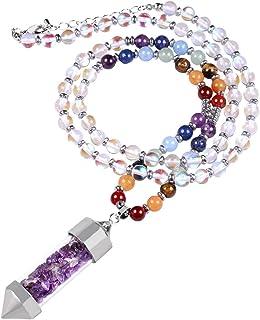 SUNYIK 6mm 7 Chakra Stone Necklace for Women Men, Amethyst Wishing Bottle Healing Crystal Point Pendant Wrapped Bracelet 3...
