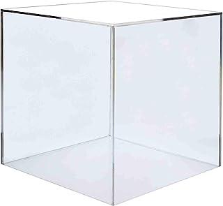 """دارندگان بازاریابی جعبه نمایش اکریلیک جعبه اسباب بازی مکعب ریز ریز اقلام کلکسیونی ایمنی پوشش گرد و غبار مربع 5 نمایش دو طرفه نمایش هنر پایه پایه پایه 14 """"w بسته 1"""