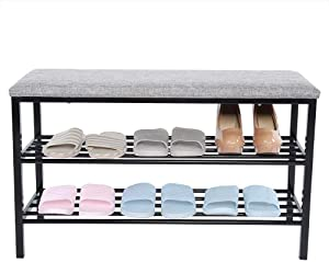 Greensen Shoe Bench, 3 Tier Shoe Organizer Bench with Storage Shelf Entryway Shoe Rack Modern Storage Bench with Cushion for Hallyway Bathroom Living Room Bedroom Entryway, Black
