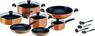 Tefal B168A574 15Pieces New Prima Cooking Set, Orange/Black, Aluminium