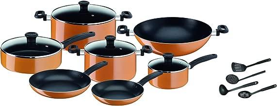 Tefal New Prima Cooking Set, Orange/Black, B168A574, 15 Pcs
