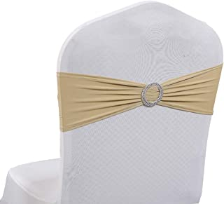mds Pack of 50 Spandex Chair Sashes Bow sash Elastic Chair Bands Ties with Buckle for Wedding and Events Decoration Lycra Slider Sashes Bow - Champagne Gold