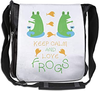 XIVEIER Design Crown Keep Calm And Love Frogs Geek Single Shoulder Pack For Girls