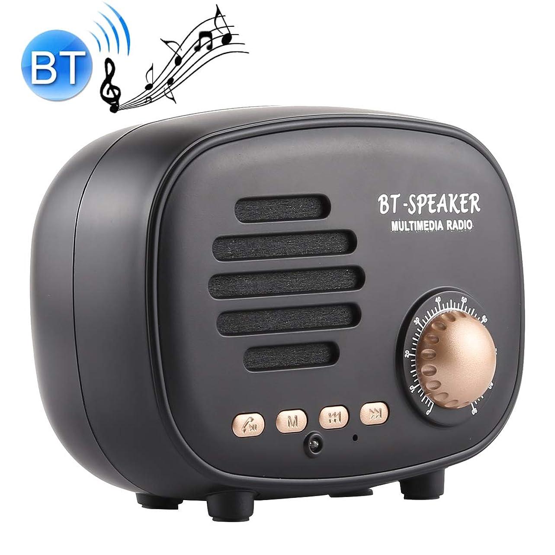 ラッカスファントム言い訳Bluetoothワイヤレススピーカー Q108レトロな小型無線ブルートゥースのスピーカー、ハンズフリー/TFカード/Uディスク/FMを支えて下さい Bluetoothワイヤレススピーカー (色 : Black)