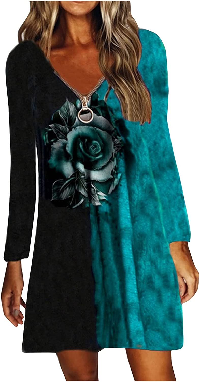 JUNLIN Petite Slimming Dresses for Curvy Women Halloween Shift Hide Tummy Long Sleeve Flare Party Dress