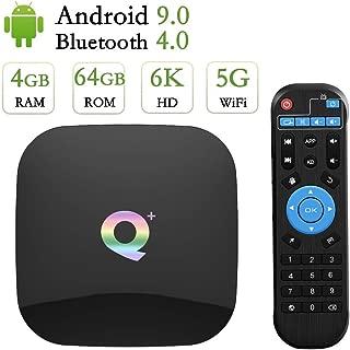Android 9.0 TV Box 4GB RAM 64GB ROM,Q Plus Android TV Box H6 Quad Core Support Dual WiFi 2.4G+5G/100M LAN/BT 4.0/4K/6K Ultra HD/3D/H.265/USB3.0 Smart Media TV Box