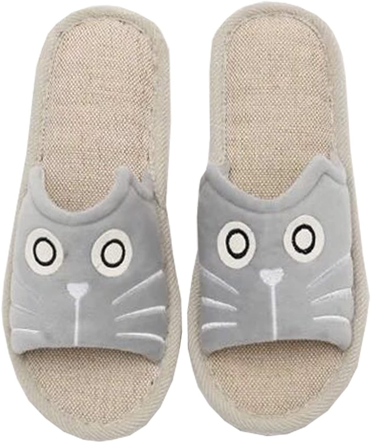DKKK Women's Cute Animal Summer Linen Slippers Open Toe Non-Slip Rubber Sole House Sandals
