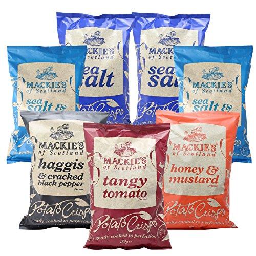 マッキーズ ポテトチップス イギリス 150g 詰め合わせ シーソルト2個 シーソルト&ビネガー2個 ハギス&ブラックペッパー1個 ハニー&マスタード1個 タンギー トマト1個