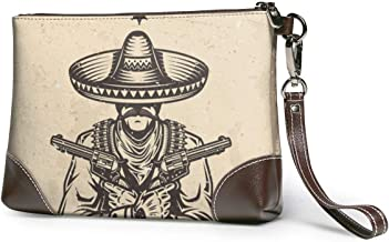 GLGFashion Carteras de cuero para mujer Vintage Wild West Wanted Poster Travel Makeup Bags Cosmetic Case Organizer for Women