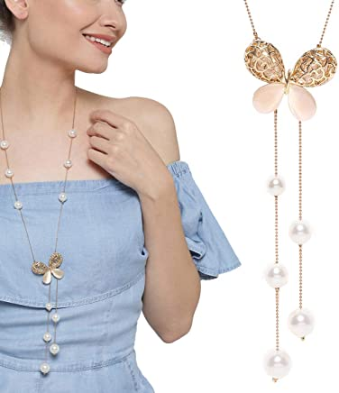 YouBella Fashion Jewellery Pendants for Girls with Long Chain Pendent Party Necklace for Women & Girls