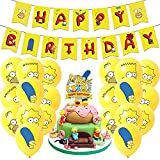 simpsons party supplies , simpson's birthday party Set includes happy birthday banner, simpsons cake toppers,birthday balloons for kids birthday decorations