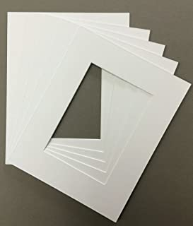Pack of 5 8x10 White Picture Mats with White Core, for 4x6 Pictures