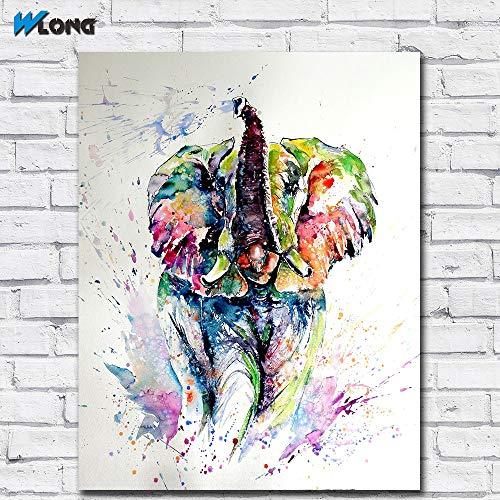 Mode Tintendruck Kunst Ölgemälde Elefant spielt Kunst auf Leinwand Bild von Wohnzimmer und Schlafzimmer rahmenlose Malerei 90X120CM