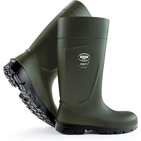 Safety Boots for Men and Women with Steel Toecap, Non-Slip Sole, Agricultural Work Boots, Feather Light, impervious to Water, mud or detergents, Insulating up to - 20 Degrees, Green, UK 4 Mens Size