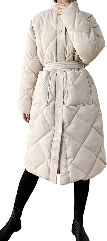 Chartou Women's Puffer Band Collar Diamond-Quilted Oversized Belt Midi Long Jacket Outwear