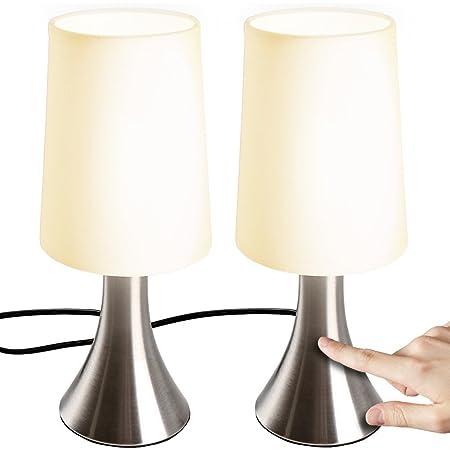 Jago® Lampe de Table Tactile - Lot de 2, avec Abat-Jour en Tissu, Ampoule E14, Max. 60 W ou LED Dimmable, Hauteur 29.5 cm, Classe Énergétique de A++ à E - Lampe de Chevet, à Poser