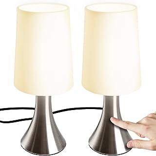 Jago® Lampe de Table Tactile - Lot de 2, avec Abat-Jour en Tissu, Ampoule E14, Max. 60 W ou LED Dimmable, Hauteur 29.5 cm,...