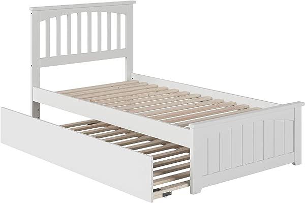 大西洋家具 AR8726012 任务平台床与匹配的脚板和双人尺寸城市滚动双白色