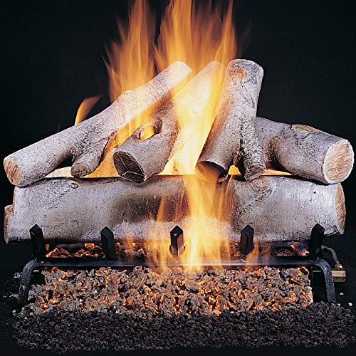 For Sale! Rasmussen 30-Inch White Birch Gas Log Set with Vented Propane Flaming Ember Xtra Burner wi...