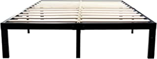 14 Inch Metal Platform Bed Frames / Wood Slat Support / No Box Spring Needed / 3500 lbs Heavy Duty/ Noise Free/ With storage / Black Finish Queen
